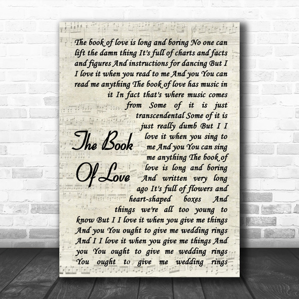 Peter Gabriel The Book Of Love Vintage Script Song Lyric Quote Music Print