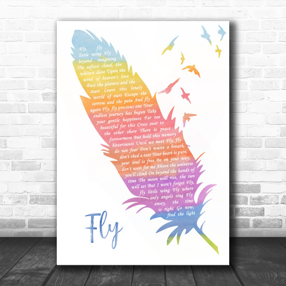 Céline dion Fly Watercolour Feather & Birds Song Lyric Quote Music Print