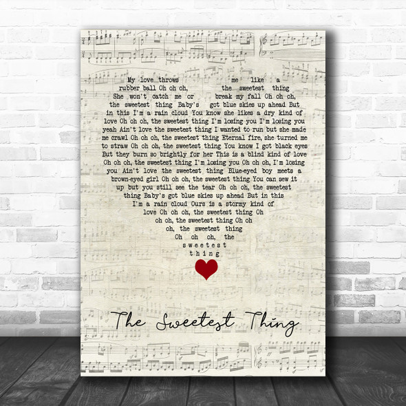 U2 The Sweetest Thing Script Heart Song Lyric Quote Music Print