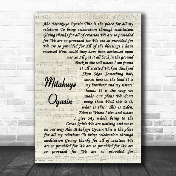 Nahko And Medicine For The People Mitakuye Oyasin Vintage Script Song Lyric Quote Music Print