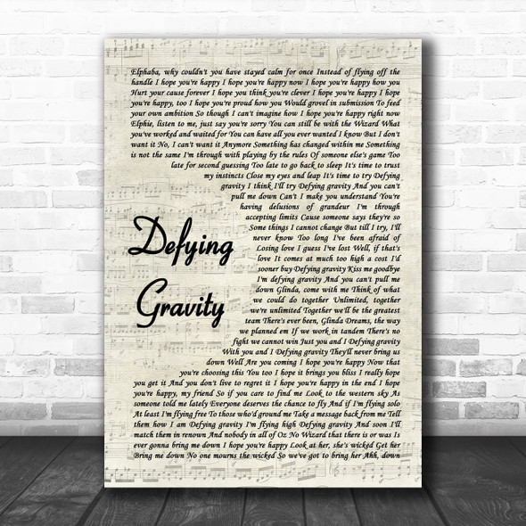 Idina Menzel Defying Gravity Vintage Script Song Lyric Quote Music Print