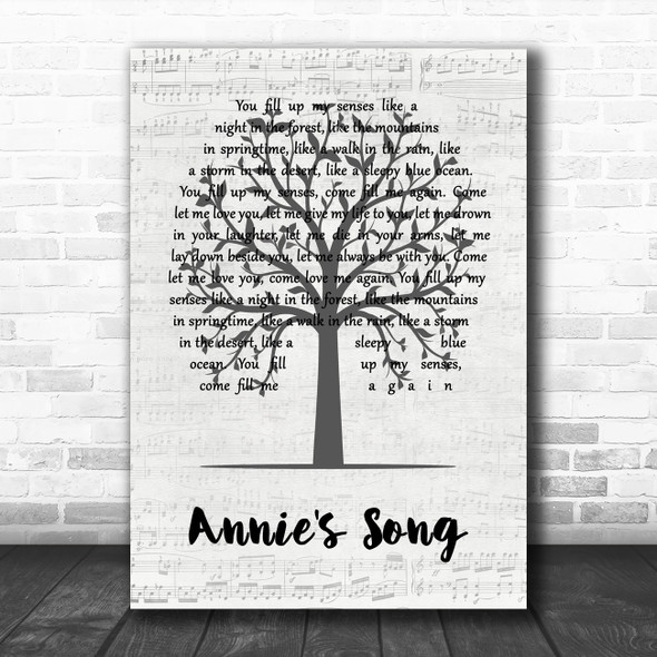 John Denver Annie's Song Music Script Tree Song Lyric Quote Music Print