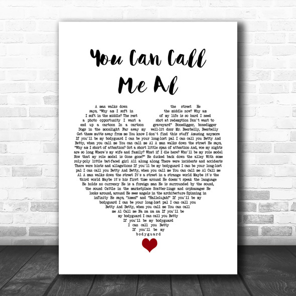 Paul Simon You Can Call Me Al White Heart Song Lyric Quote Music Print