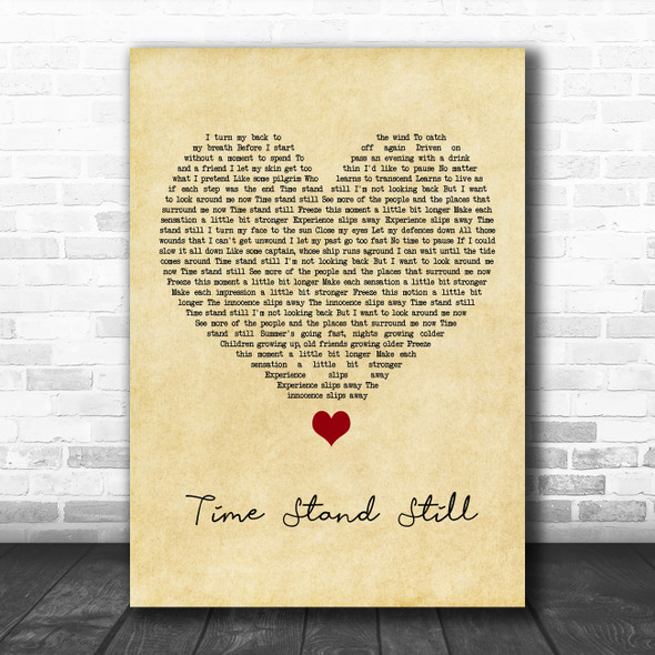 Rush Time Stand Still Vintage Heart Song Lyric Quote Music Print
