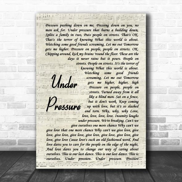 Queen & David Bowie Under Pressure Vintage Script Song Lyric Quote Music Print