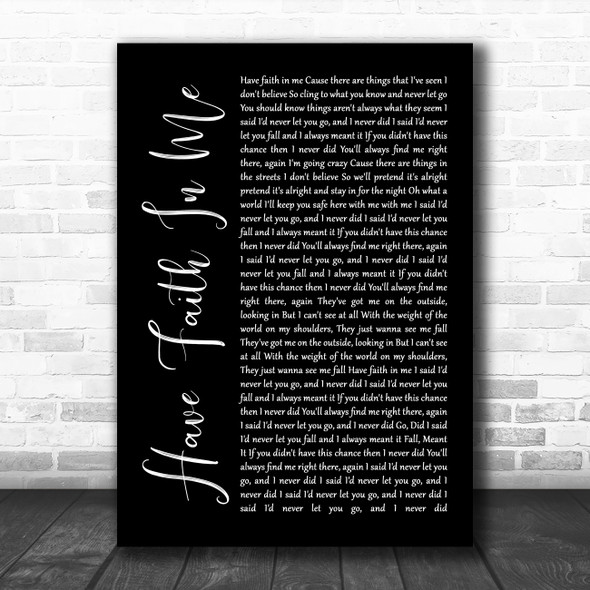 A Day To Remember Have Faith In Me Black Script Song Lyric Quote Music Print