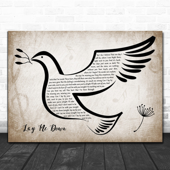 Sam Smith Lay Me Down Vintage Dove Bird Song Lyric Quote Music Print