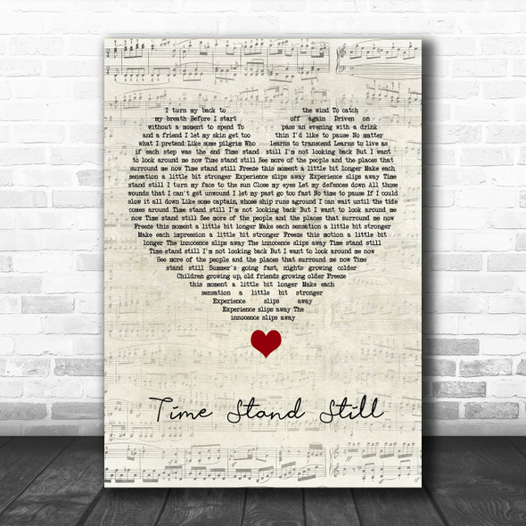 Rush Time Stand Still Script Heart Song Lyric Quote Music Print