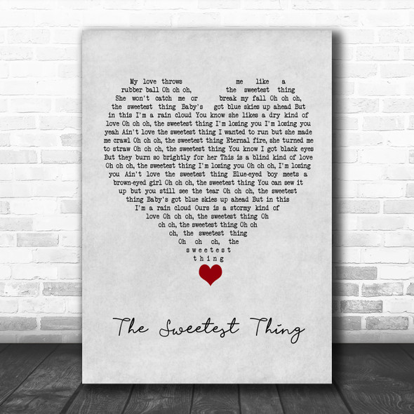 U2 The Sweetest Thing Grey Heart Song Lyric Quote Music Print
