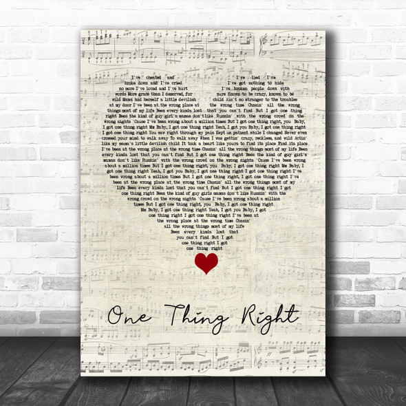 Marshmello & Kane Brown One Thing Right Script Heart Song Lyric Quote Music Print