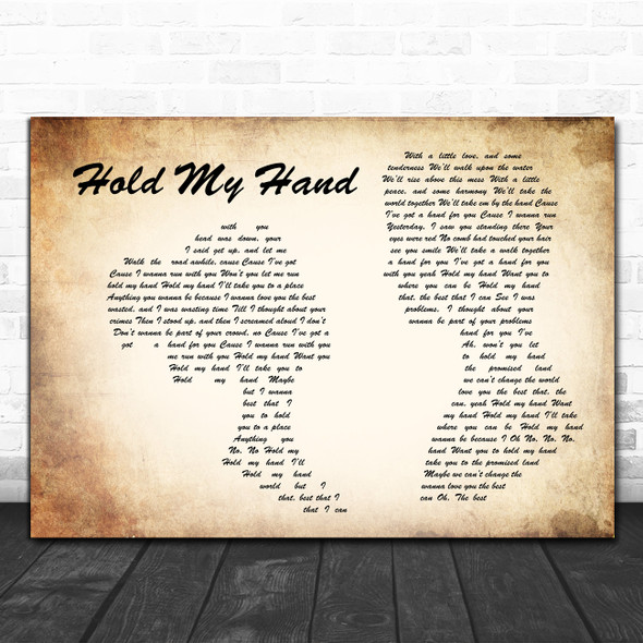 Hootie & The Blowfish Hold My Hand Man Lady Couple Song Lyric Quote Music Print
