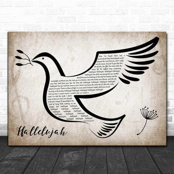 Leonard Cohen Hallelujah Vintage Dove Bird Song Lyric Quote Music Print