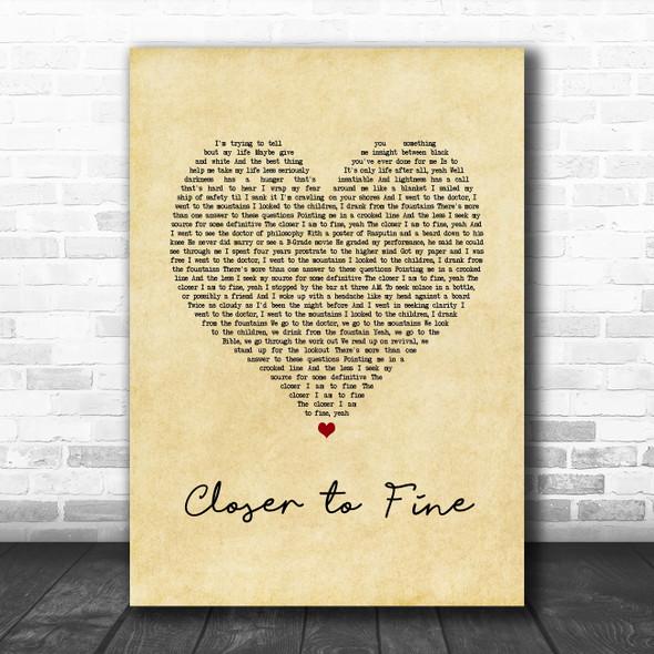 Indigo Girls Closer to Fine Vintage Heart Song Lyric Quote Music Print