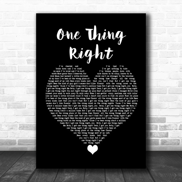Marshmello & Kane Brown One Thing Right Black Heart Song Lyric Quote Music Print