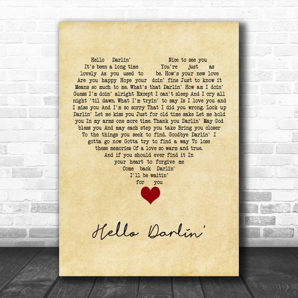 Daniel O'Donnell Hello Darlin' Vintage Heart Song Lyric Quote Music Print
