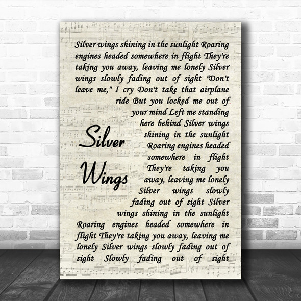 Merle Haggard Silver Wings Vintage Script Song Lyric Quote Music Print
