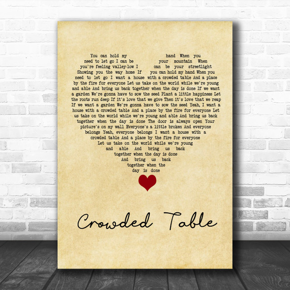 The Highwomen Crowded Table Vintage Heart Song Lyric Quote Music Print