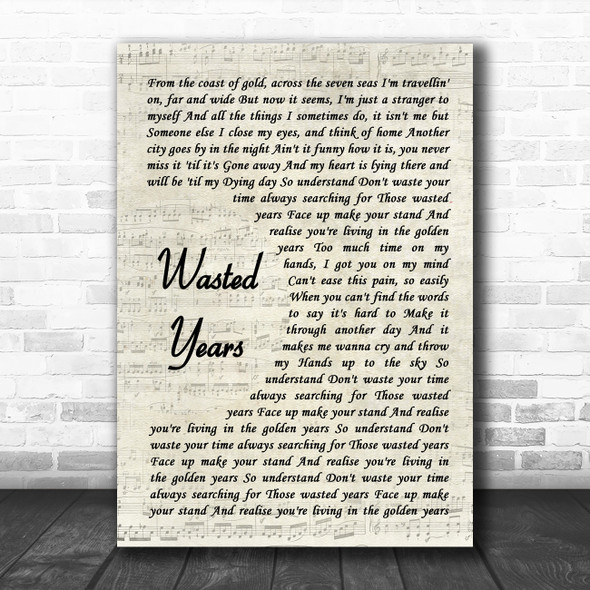 Iron Maiden Wasted Years Vintage Script Song Lyric Quote Music Print
