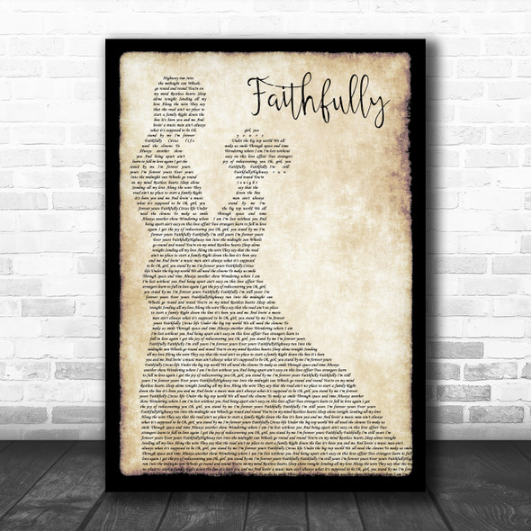 Journey Faithfully Man Lady Dancing Song Lyric Quote Music Print