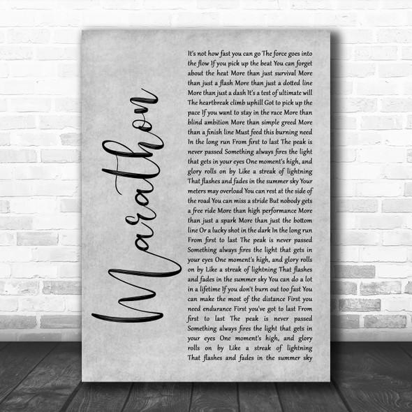 Rush Marathon Grey Rustic Script Song Lyric Quote Music Print