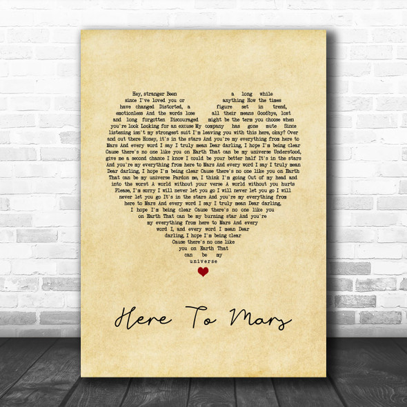 Coheed And Cambria Here To Mars Vintage Heart Song Lyric Quote Music Print