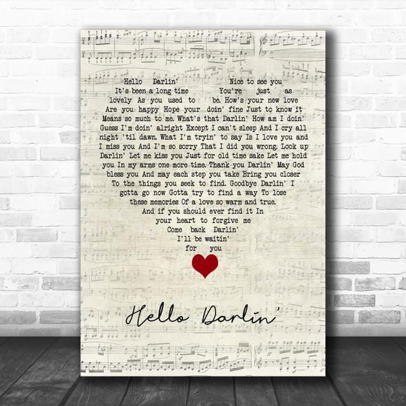 Daniel O'Donnell Hello Darlin' Script Heart Song Lyric Quote Music Print