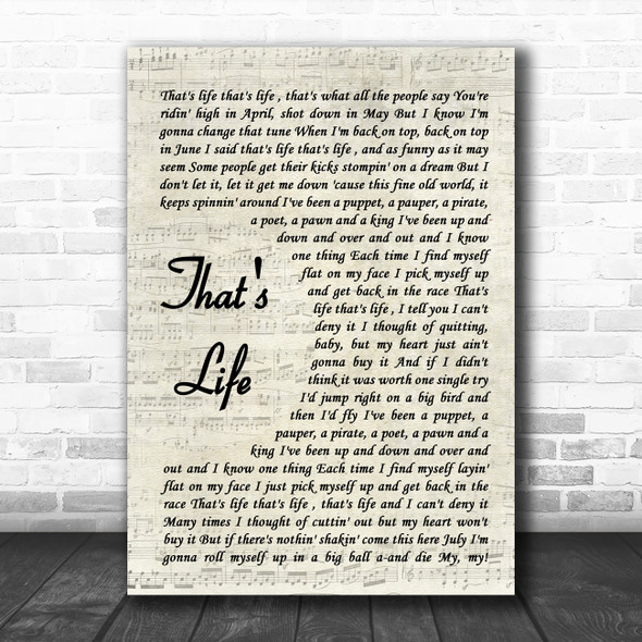 Frank Sinatra That's Life Vintage Script Song Lyric Quote Music Print