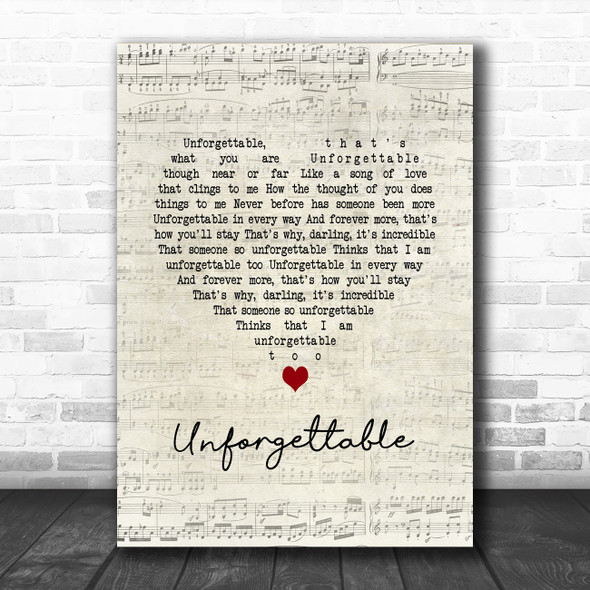 Nat King Cole Unforgettable Script Heart Song Lyric Quote Music Print