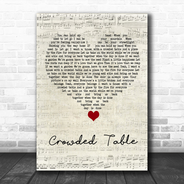 The Highwomen Crowded Table Script Heart Song Lyric Quote Music Print