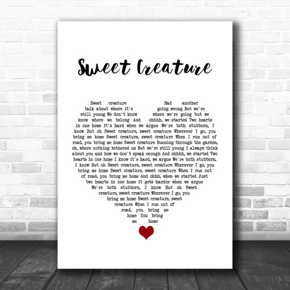 Harry Styles Sweet Creature White Heart Song Lyric Quote Music Print