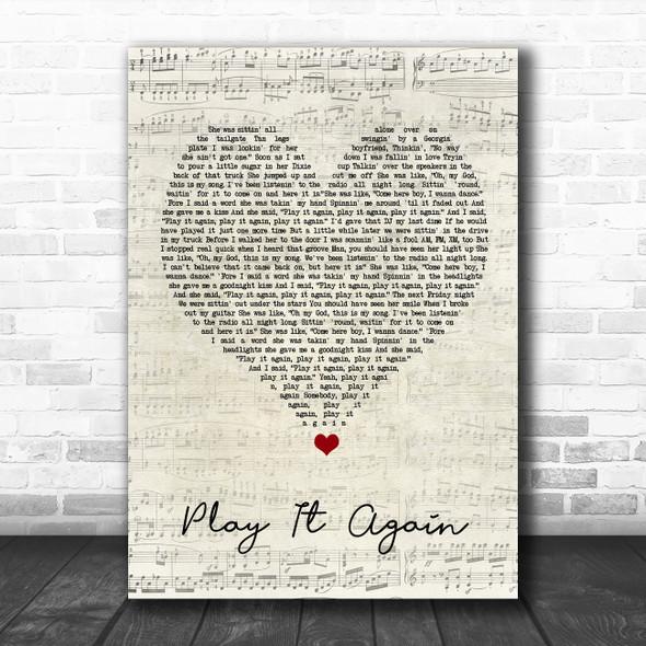 Luke Bryan Play It Again Script Heart Song Lyric Quote Music Print