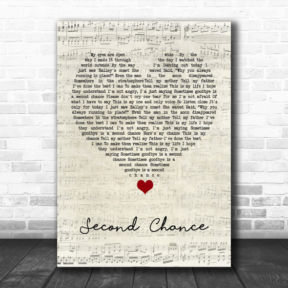 Shinedown Second Chance Script Heart Song Lyric Quote Music Print