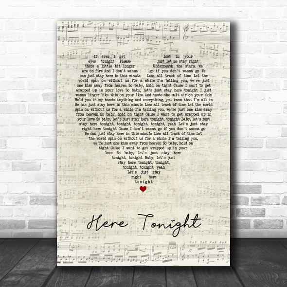 Brett Young Here Tonight Script Heart Song Lyric Quote Music Poster Print