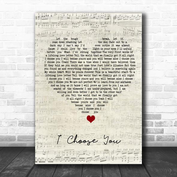 Sara Bareilles I Choose You Script Heart Song Lyric Quote Music Print