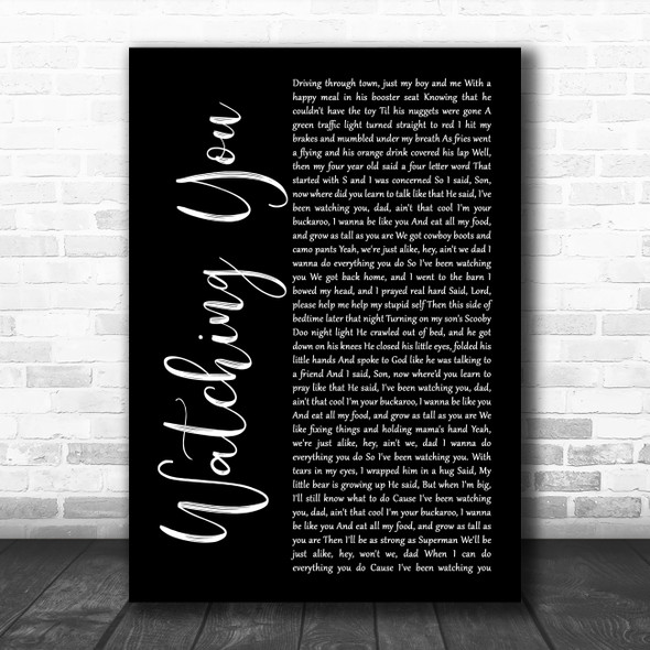 Rodney Atkins Watching You Black Script Song Lyric Quote Music Print