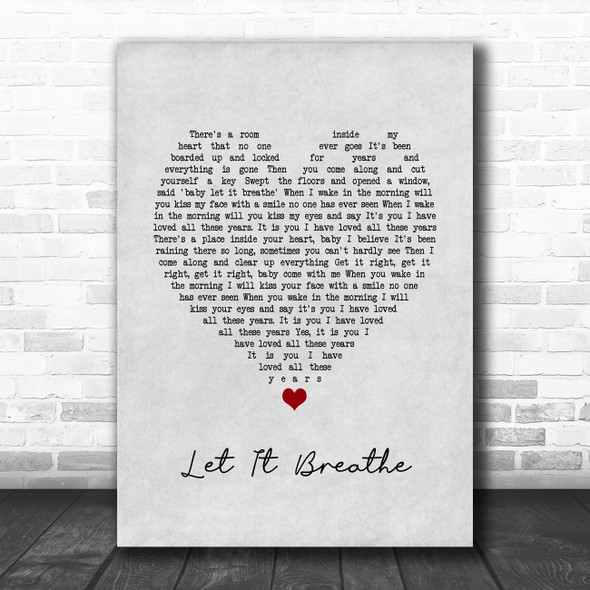 Water Liars Let It Breathe Grey Heart Song Lyric Quote Music Print