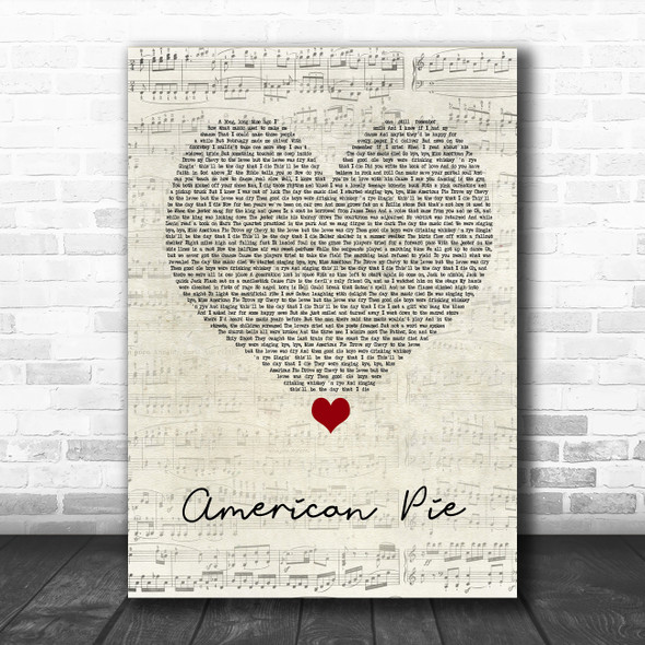 Don McLean American Pie Script Heart Song Lyric Quote Music Print