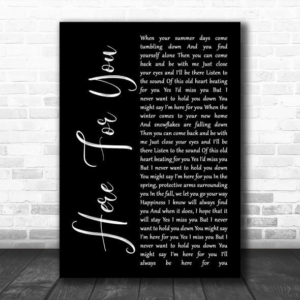 Neil Young Here For You Black Script Song Lyric Quote Music Print