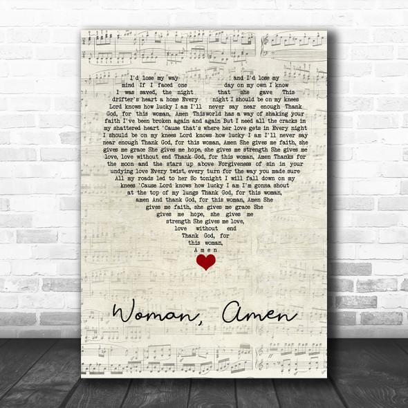 Dierks Bentley Woman, Amen Script Heart Song Lyric Quote Music Print