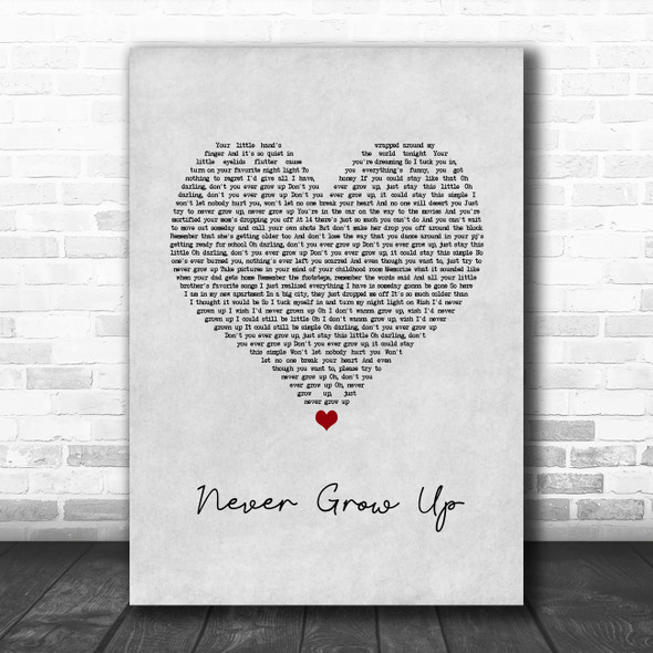 Taylor Swift Never Grow Up Grey Heart Song Lyric Quote Music Print