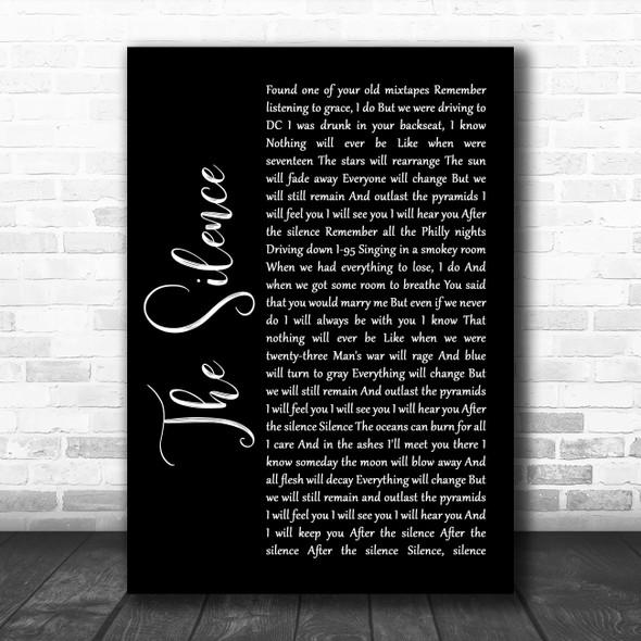 Halestorm The Silence Black Script Song Lyric Quote Music Print