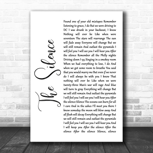 Halestorm The Silence White Script Song Lyric Quote Music Print