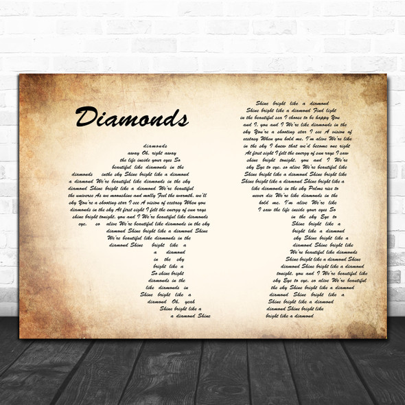 Rihanna Diamonds Man Lady Couple Song Lyric Quote Music Print