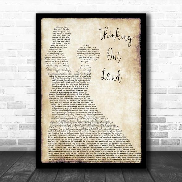 Ed Sheeran Thinking Out Loud Song Lyric Man Lady Dancing Music Wall Art Print