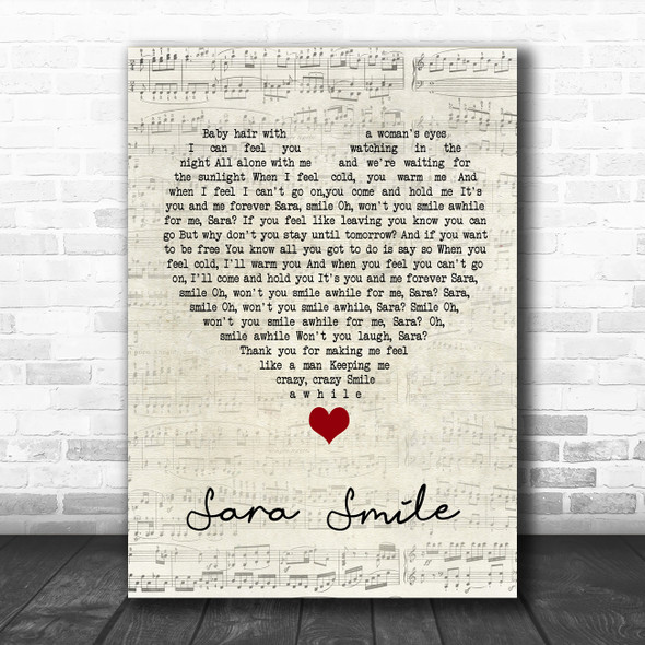 Hall & Oates Sara Smile Script Heart Song Lyric Quote Music Print