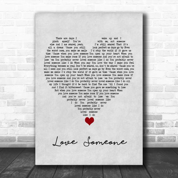 Lukas Graham Love Someone Grey Heart Song Lyric Quote Music Print