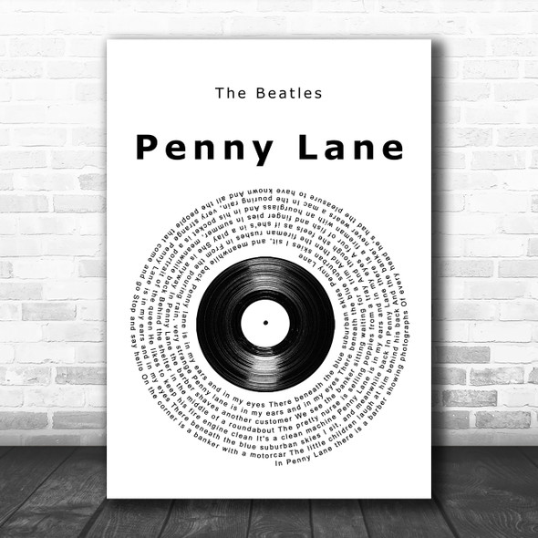 The Beatles Penny Lane Vinyl Record Song Lyric Quote Music Print