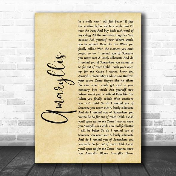 Shinedown Amaryllis Rustic Script Song Lyric Quote Music Print