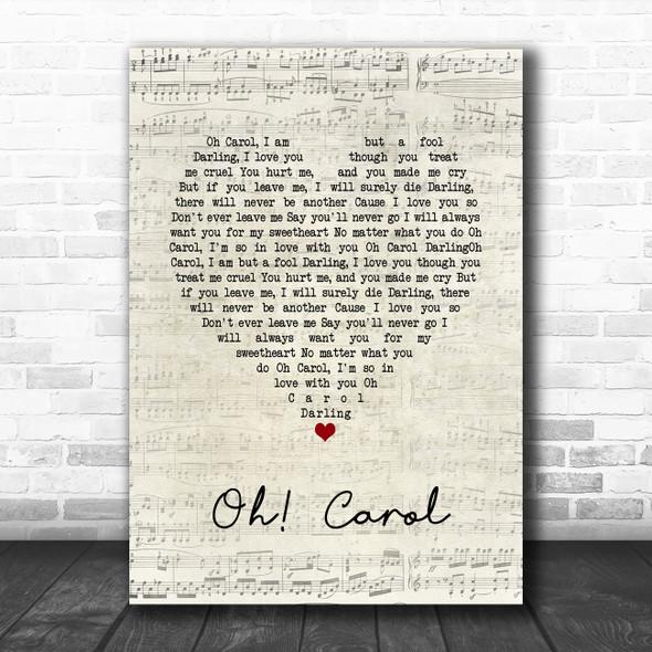 Neil Sedaka Oh! Carol Script Heart Song Lyric Quote Music Poster Print