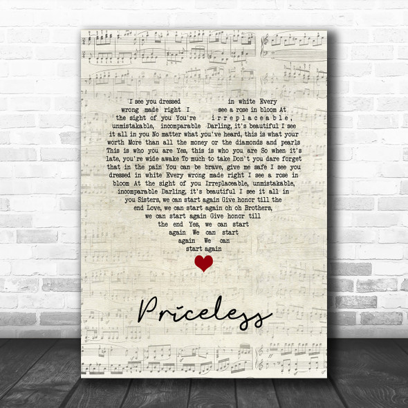 for KING & COUNTRY Priceless Script Heart Song Lyric Quote Music Print